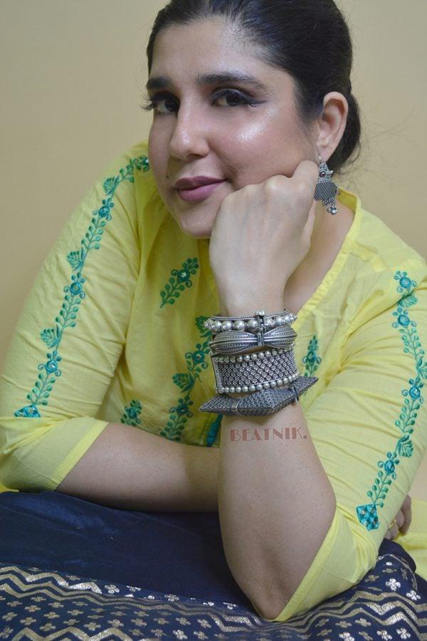 Silver Lookalike Brass Oxidised Minimal Boho Bangle - Adjustable Lifestyle Image