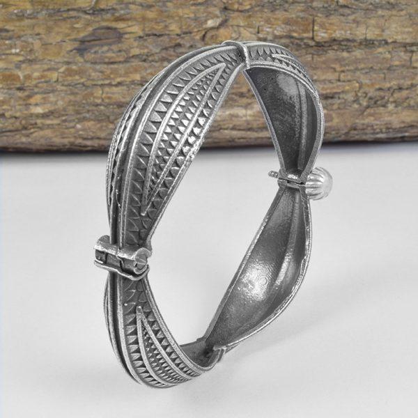 Silver Lookalike Brass Oxidised Minimal Boho Bangle - Adjustable On Wooden Log