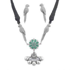Silver Lookalike Brass Oxidised Minimal Choker Necklace Earrings Set Main Image