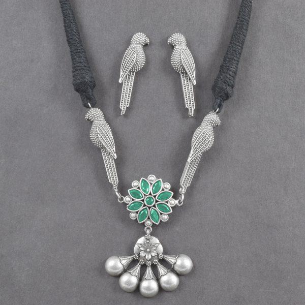 Silver Lookalike Brass Oxidised Minimal Choker Necklace Earrings Set On Black Background