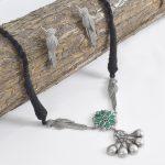 Silver Lookalike Brass Oxidised Minimal Choker Necklace Earrings Set
