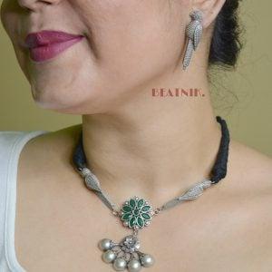 Silver Lookalike Brass Oxidised Minimal Choker Necklace Earrings Set Lifestyle Image