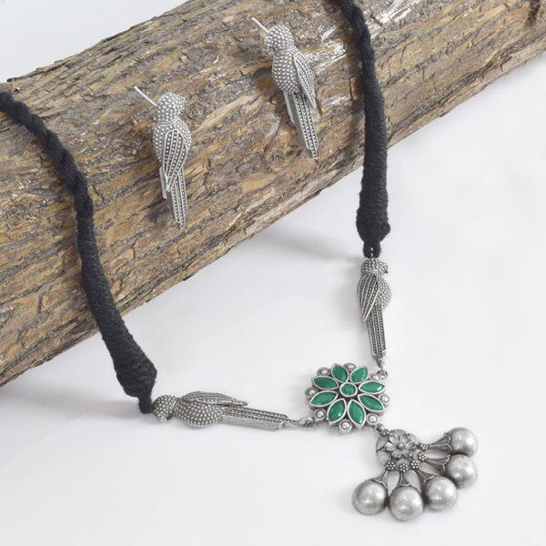Silver Lookalike Brass Oxidised Minimal Choker Necklace Earrings Set On Wooden Log