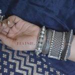Silver Lookalike Brass Oxidised Minimal Square Bangle – Adjustable