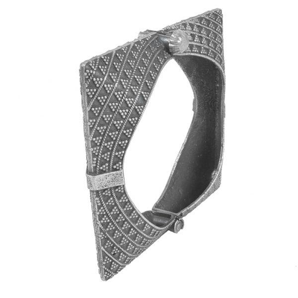 Silver Lookalike Brass Oxidised Minimal Square Bangle - Adjustable Main Image