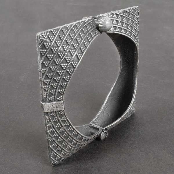Silver Lookalike Brass Oxidised Minimal Square Bangle - Adjustable On Black Background
