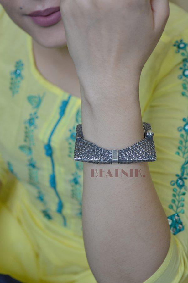 Silver Lookalike Brass Oxidised Minimal Square Bangle - Adjustable Lifestyle Image