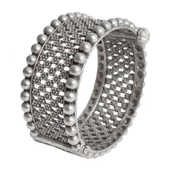 Silver Lookalike Brass Oxidised Round Jaali Boho Bangle - Adjustable Main Image
