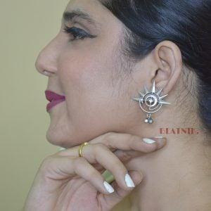 Silver Lookalike Brass Oxidised Round Spokes Stud Earrings Lifestyle Image