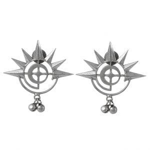 Silver Lookalike Brass Oxidised Round Spokes Stud Earrings Main Image