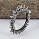 Silver Lookalike Brass Oxidised Spoke Motif Bangle – Adjustable