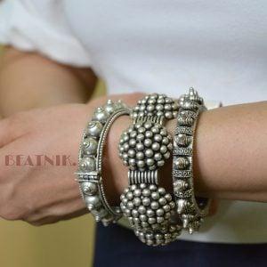 Silver Lookalike Brass Oxidised Statement Boho Bangle - Adjustable Lifestyle Image