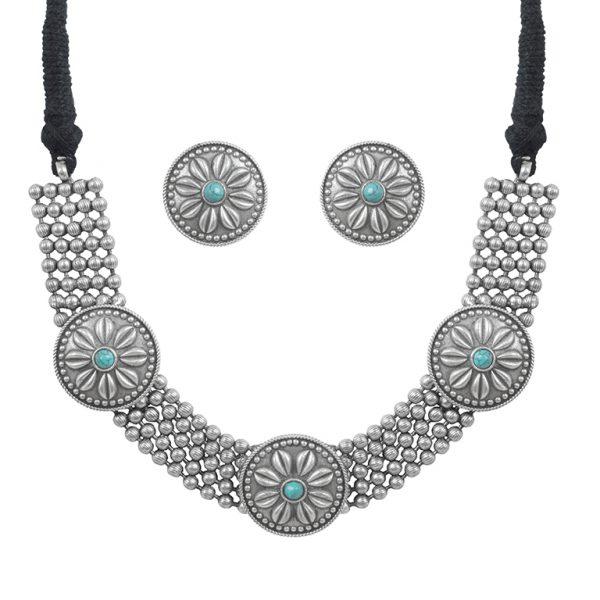 Silver Lookalike Brass Oxidised Statement Choker Necklace Earrings Set Main Image