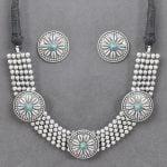 Silver Lookalike Brass Oxidised Statement Choker Necklace Earrings Set