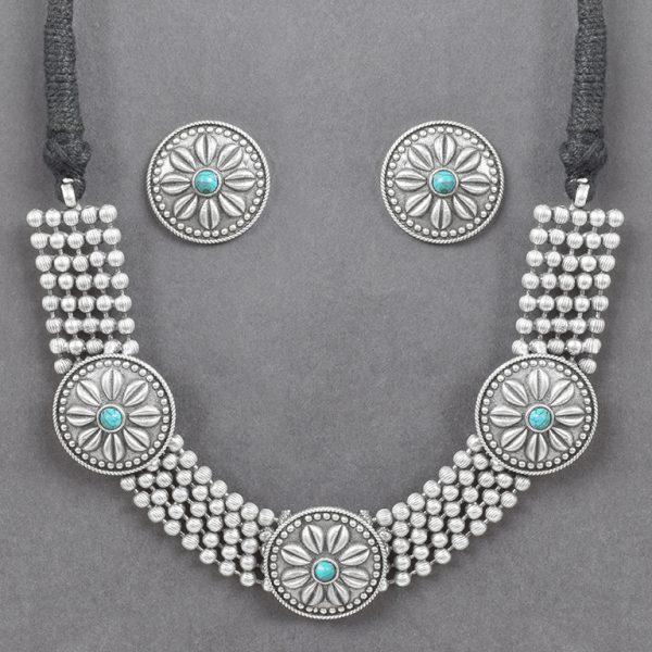 Silver Lookalike Brass Oxidised Statement Choker Necklace Earrings Set On Black Background
