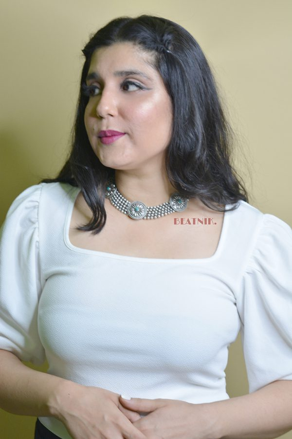 Silver Lookalike Brass Oxidised Statement Choker Necklace Earrings Set Lifestyle Image