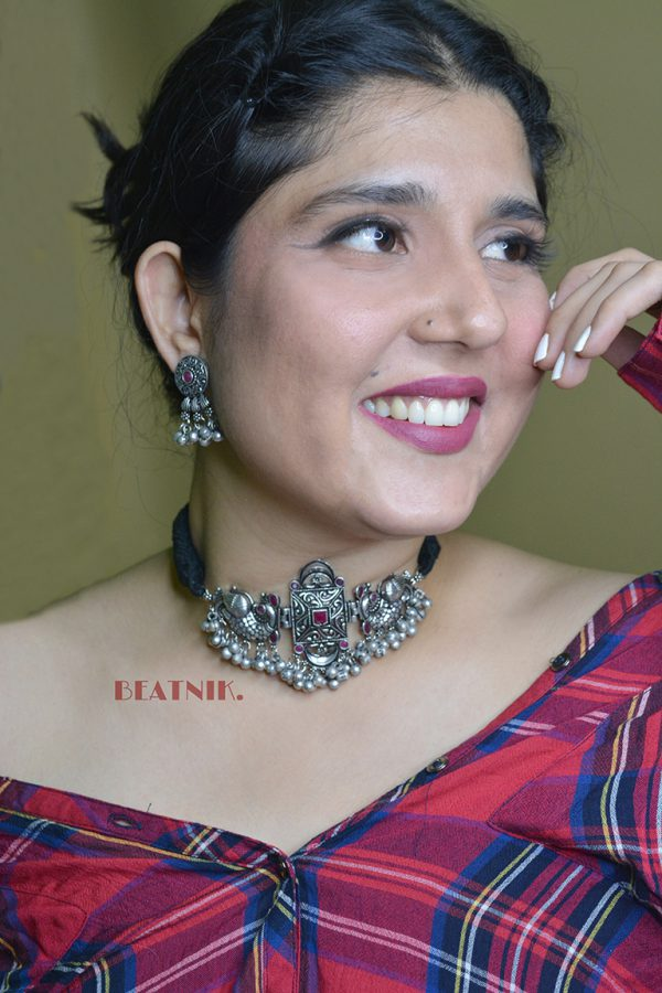 Silver Lookalike Brass Oxidised Studded Statement Choker Necklace Earrings Set Lifestyle Image