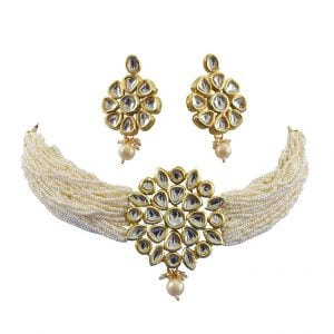 Traditional White Cheed Beads Kundan Choker Necklace Earrings Set Main Image