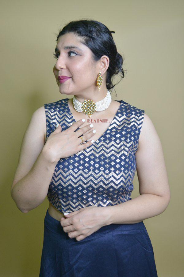 Traditional White Cheed Beads Kundan Choker Necklace Earrings Set Lifestyle Image