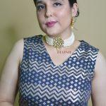 Traditional White Cheed Beads Kundan Choker Necklace Earrings Set