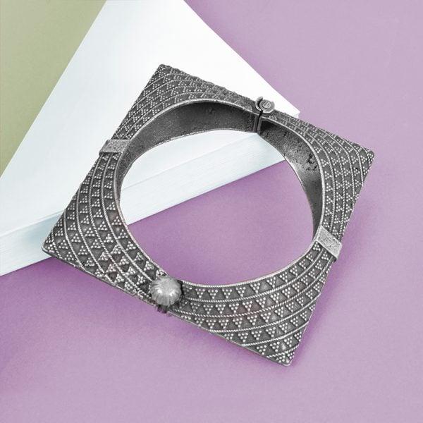 Silver Lookalike Brass Oxidised Minimal Square Bangle - Adjustable Studio Image