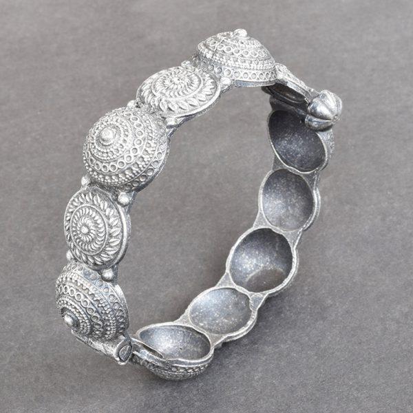 Silver Lookalike Brass Oxidised Boho Statement Motif Bangle - Adjustable On Black Background