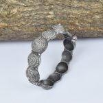 Silver Lookalike Brass Oxidised Boho Statement Motif Bangle – Adjustable
