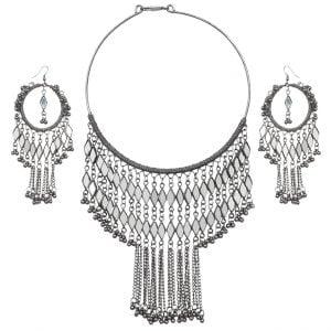 Boho Afghani Oxidised Silver Hanging Necklace Earrings Set - White Main Image