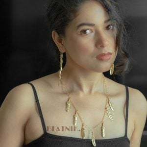 Gold Plated Brass Dainty Leafy Minimal Necklace Earrings Set Lifestyle Image