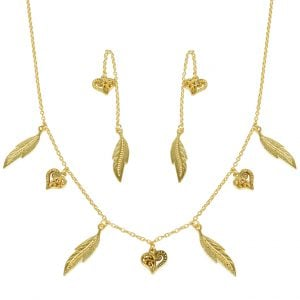 Gold Plated Brass Minimal Leaf Motif Necklace Earrings Set Main Image