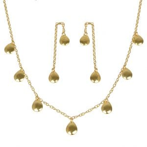 Gold Plated Brass Minimal Necklace Earrings Set Main Image