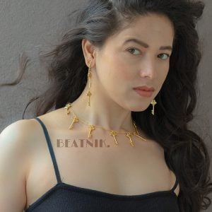 Gold Plated Brass Necklace Earrings Set - Key Motif Lifestyle Image