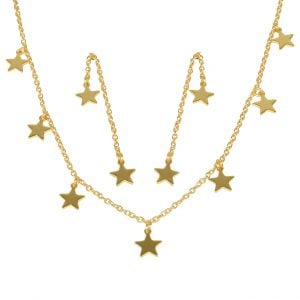 Gold Plated Brass Star Motif Minimal Necklace Earrings Set Main Image