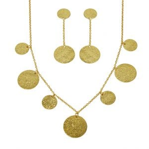 Gold Plated Brass Statement Dainty Necklace Earrings Set Main Image