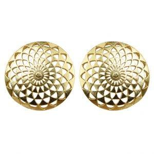 Gold Plated Brass Statement Minimal Flower Motif Stud Earrings Main Image