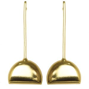 Gold Plated Brass Statement Minimal Hanging Earrings Main Image
