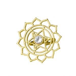 Gold Plated Brass Statement Minimal Star Motif Ring - Adjustable Main Image