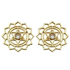 Gold Plated Brass Statement Minimal Star Motif Stud Earrings Main Image