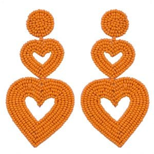 Hand-beaded Hanging Heart Earrings Main Image