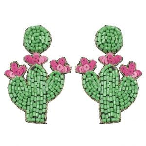 Hand-Beaded Quirky Cacti Motif Hanging Earrings Main Image