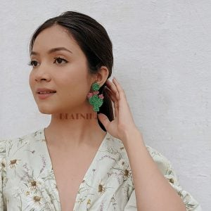 Hand-Beaded Quirky Cacti Motif Hanging Earrings Lifestyle Image