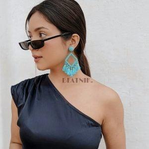 Hand-beaded Quirky Tribal Teal Tassels Dangler Earrings Lifestyle Image