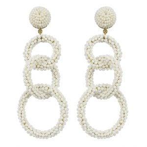 Hand-beaded Statement Hoop-a-Loop White Beads Hanging Earrings Main Image
