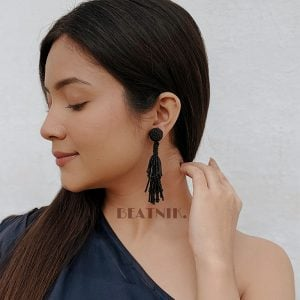 Hand-beaded Statement Quirky Black Beads Dangler Earrings Lifestyle Image