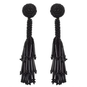 Hand-beaded Statement Quirky Black Beads Dangler Earrings Main Image