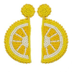 Hand-beaded Statement Zesty Lemon Quirky Hanging Earrings Main Image