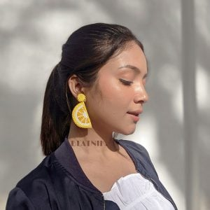 Hand-beaded Statement Zesty Lemon Quirky Hanging Earrings Lifestyle Image