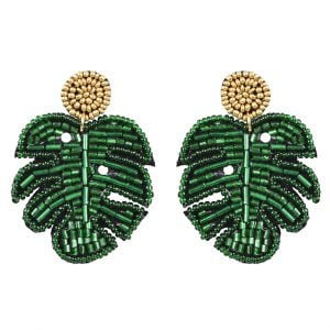 Hand-embroidered Green Beaded Monstera Leaf Stud Earrings Main Image