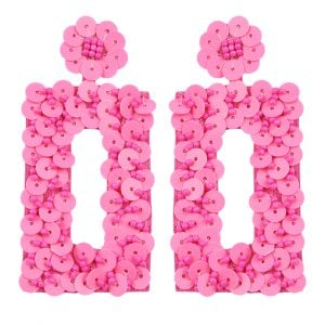 Hand-embroidered Statement Pink Beads Hanging Earrings Main Image