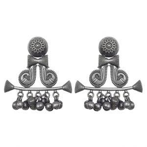 Silver Lookalike Brass Oxidised Antique Bohemian Ghungroo Stud Earrings Main Image
